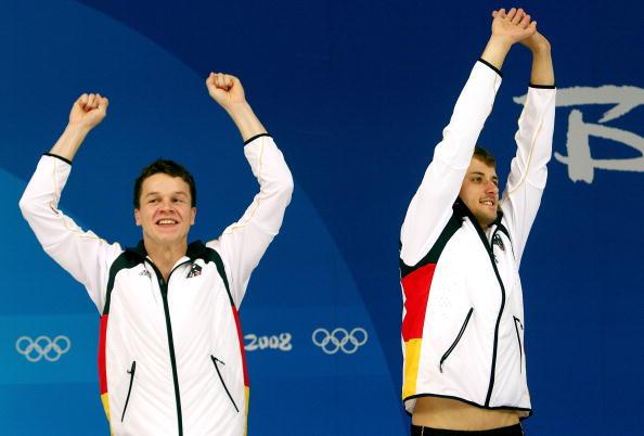 图文-男子双人10米台跳水 德国组合获得银牌
