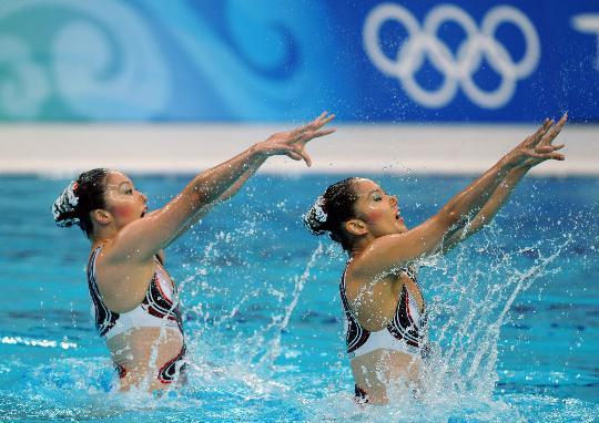 图文-花样游泳双人项目决赛赛况 美丽的臂膀