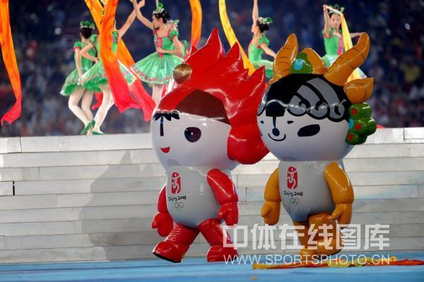 图文-北京奥运会闭幕式垫场表演 福娃在现场