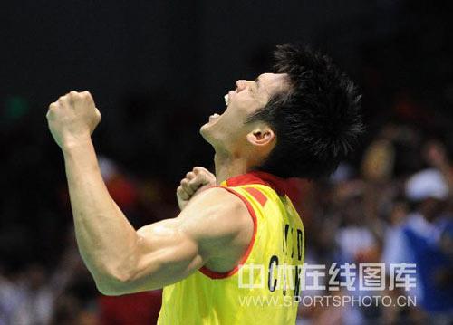 图文-羽毛球男单林丹夺金 我是世界冠军!