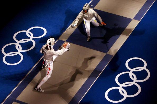 图文-8月14日奥运击剑赛场瞬间 进退之间学问很大
