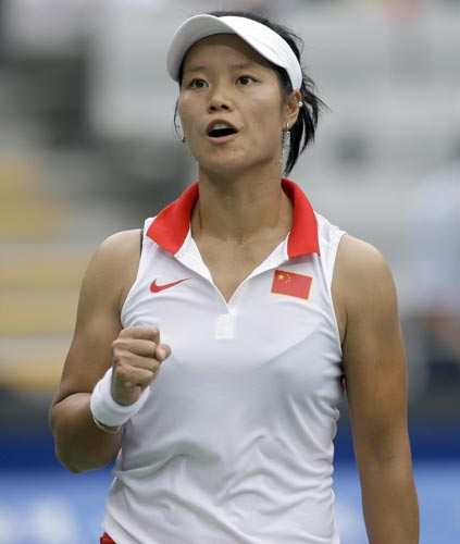 图文-网球女单1/8决赛 李娜为自己打气