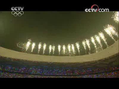 视频-奥运会开幕式现场仪式 29个火焰脚印点亮北京