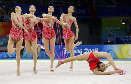 Photo: China wins silver at Beijing Olympic rhythmic gymnastics