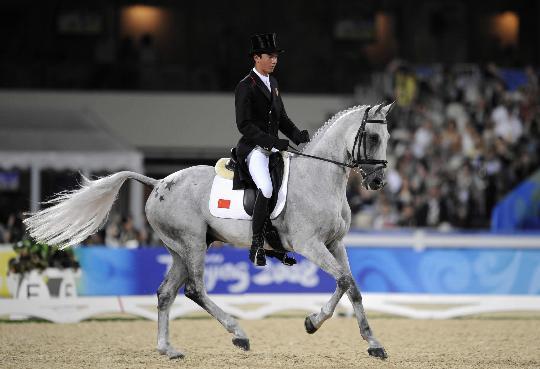 图文-马术三项赛精彩回顾 灰白色尾鬃随风起舞