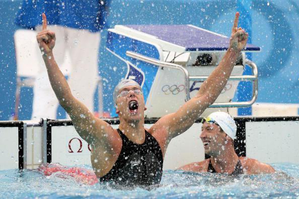 图文-奥运会男子50米自由泳决赛 最激动的冠军