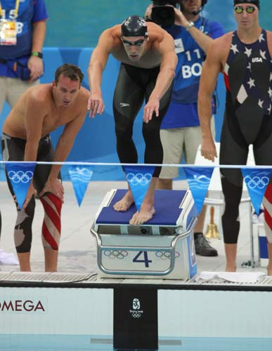 图文-男子4x100米混美国夺金 菲尔普斯准备入水