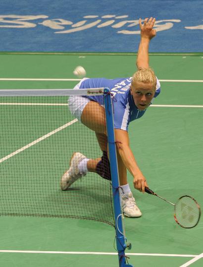 图文-羽毛球比赛开赛 因戈尔夫斯多蒂尔接球