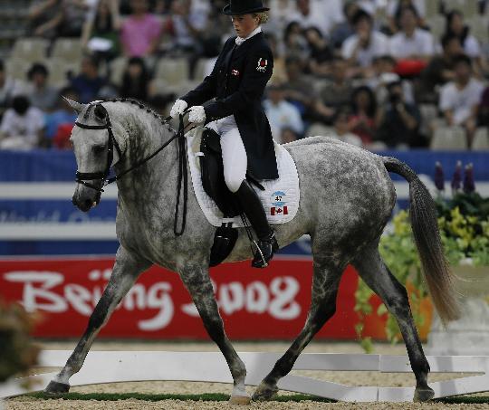 图文-马术盛装舞步第二天比赛 萨曼莎-泰勒控制马匹