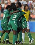 图文-[女足]尼日利亚vs巴西 非洲劲旅庆祝进球