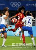 图文-[奥运]中国女足0-2日本 韩端甩头攻门