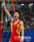 图文-中国队冲击体操男团冠军 李小鹏振臂高呼