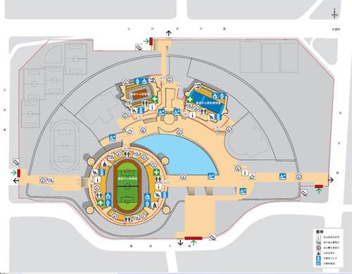 资料图片:奥体中心体育馆内部结构示意图