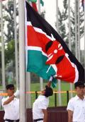 图文-各代表团奥运村升旗仪式 升旗手升起肯尼亚国旗
