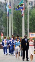 图文-佛得角奥运代表团举行升旗仪式