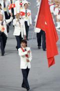 图文-奥运会运动员入场式 香港代表团旗手入场