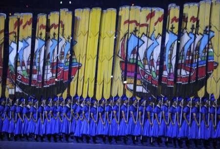 图文-北京奥运会开幕式盛大表演 中国航海历史悠久