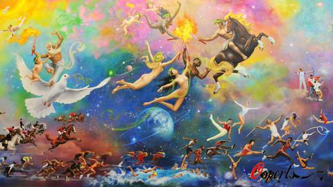 图文-百米油画长卷亮相国展中心  美丽的油画