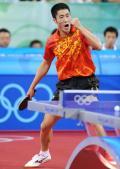 图文-乒乓球男单王励勤获铜牌 王励勤打出气势