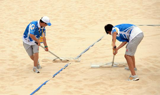 图文-朝阳公园沙排场准备就绪 做好比赛前一切准备
