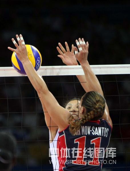 图文-[奥运会女排]中国队vs美国队 这个球很微妙
