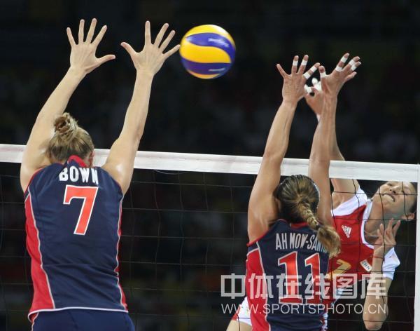 图文-[奥运会女排]中国队vs美国队 专找空档扣球