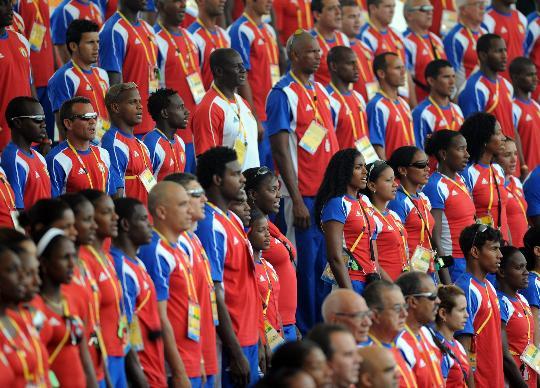 图文-各国代表团举行升旗仪式 代表团成员人数不少