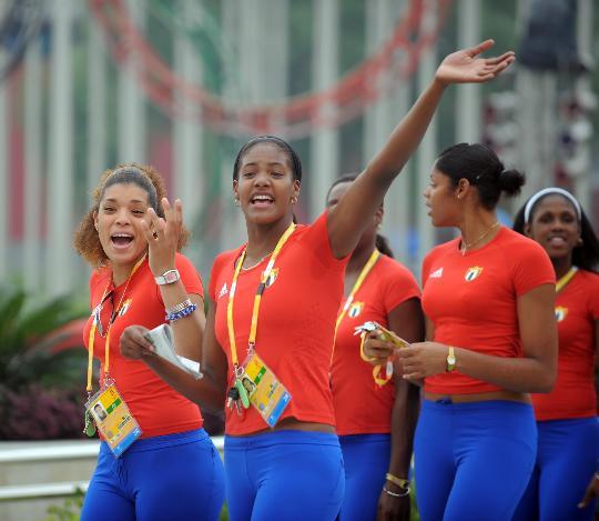 图文-各国代表团举行升旗仪式 古巴奥运代表团前来