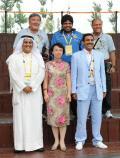 图文-科威特奥运代表团举行升旗仪式 程红欢迎客人