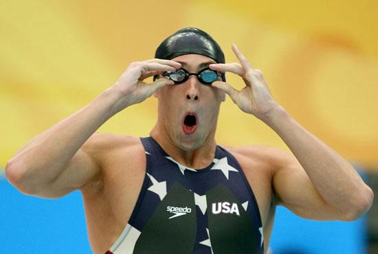 图文-奥运比赛众生相 菲尔普斯的吃惊表情