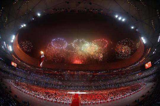 图文-北京奥运会开幕式回顾 奥运五环照耀主火炬