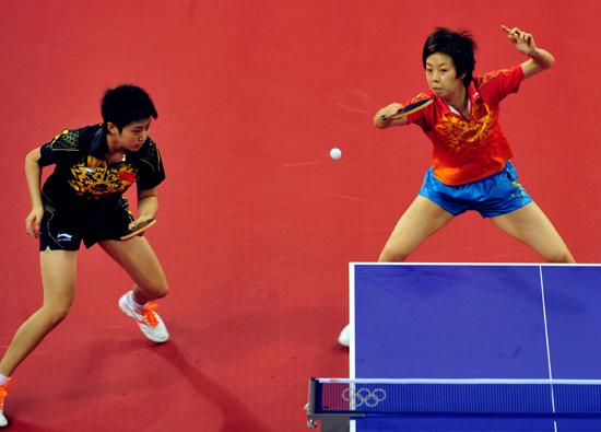 中国乒球队9日训练