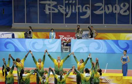 图文-[奥运]女排巴西3-1美国 巴西队庆祝