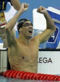 图文-400米混合泳菲尔普斯摘金 菲尔普斯难耐激情