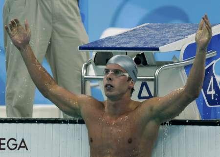 图文-男子100米蛙泳半决赛 挪威名将霸气十足