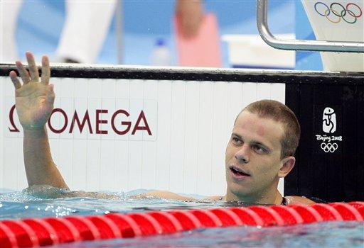 图文-男子200米仰泳决赛 洛赫特夺金后挥手致意