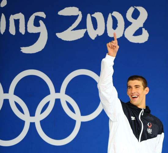 图文-男子100米蝶菲尔普斯夺冠 开心的菲尔普斯