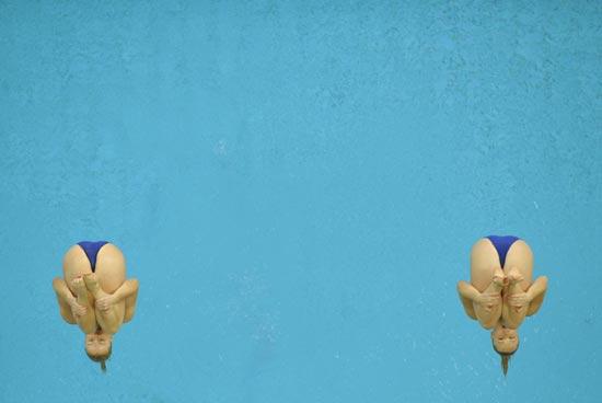 图文-北京奥运跳水赛经典瞬间 英国组合如双生花