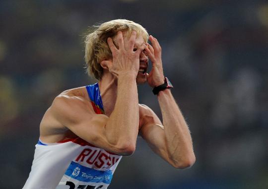 图文-男子跳高俄罗斯选手夺金 胜利让人如此疯狂