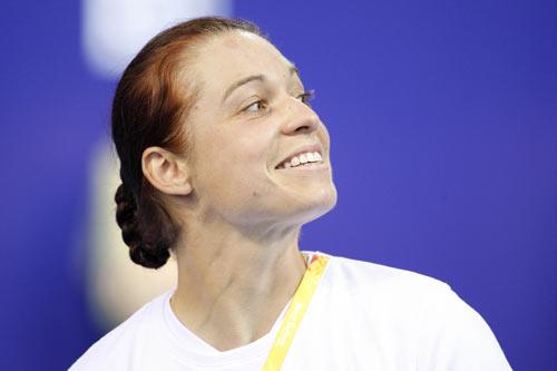 图文-奥运会女子现代五项赛况 咬咬牙关