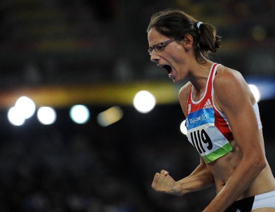 图文-女子跳高比利时选手夺金 埃勒博异常兴奋