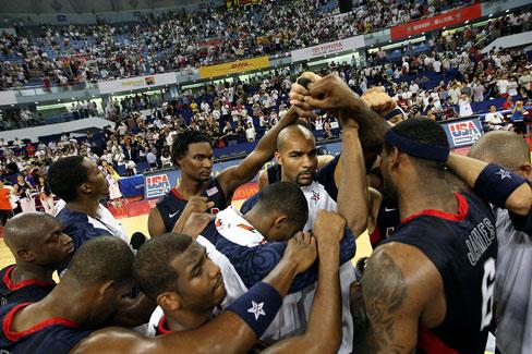 图文-美国男篮87-76澳大利亚 庆祝大战前的胜利