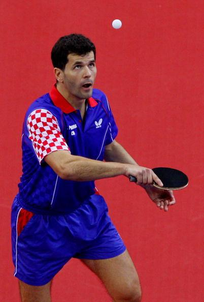 图文-14日奥运会乒乓球赛况 克罗地亚选手发球