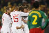 丹麦队庆祝进球