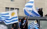 卢加诺挥舞一面国旗
