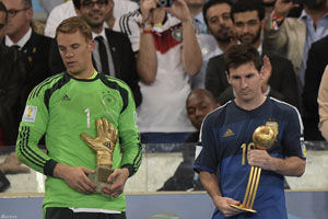 世界杯大奖一览:梅西金球J罗金靴诺伊尔金手套
