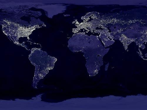 太空拍摄城市灯光:折射全球经济发展不平衡(组图)