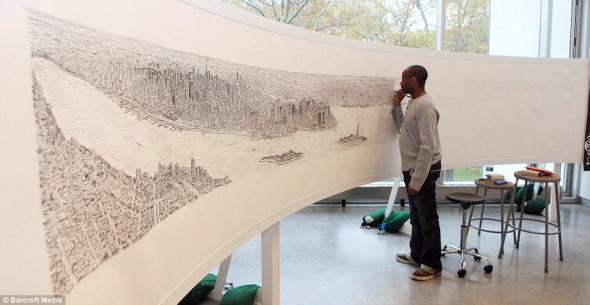 该图长18英尺(5.49米),详细画出了每一座建筑物