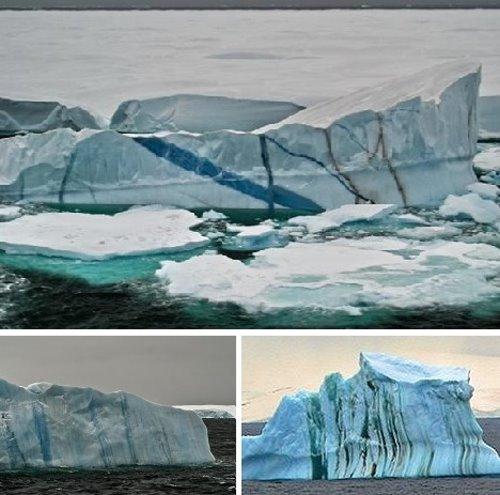 风化撞击下的条纹冰山多图