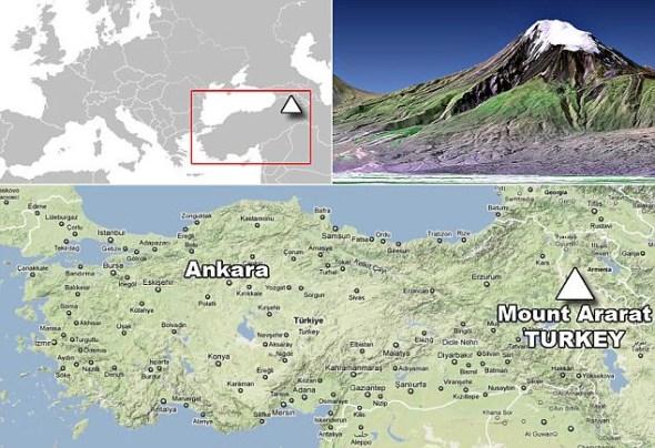 """2006年,美国国家安全分析师波切尔-泰勒宣称这张卫星照片上显示亚拉拉特山西北角有""""异常物体"""""""